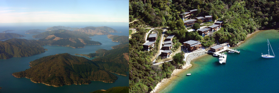 Aerial views of the Bay of Many Coves and the Queen Charlotte Sound