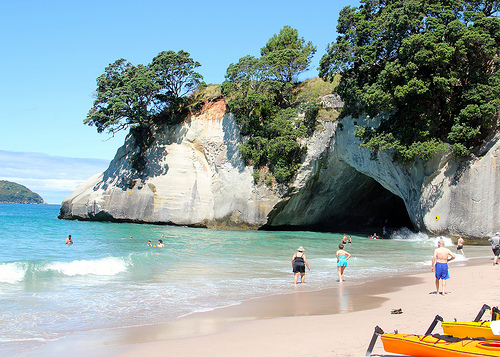 Cathedral Cove after landing Kayaks